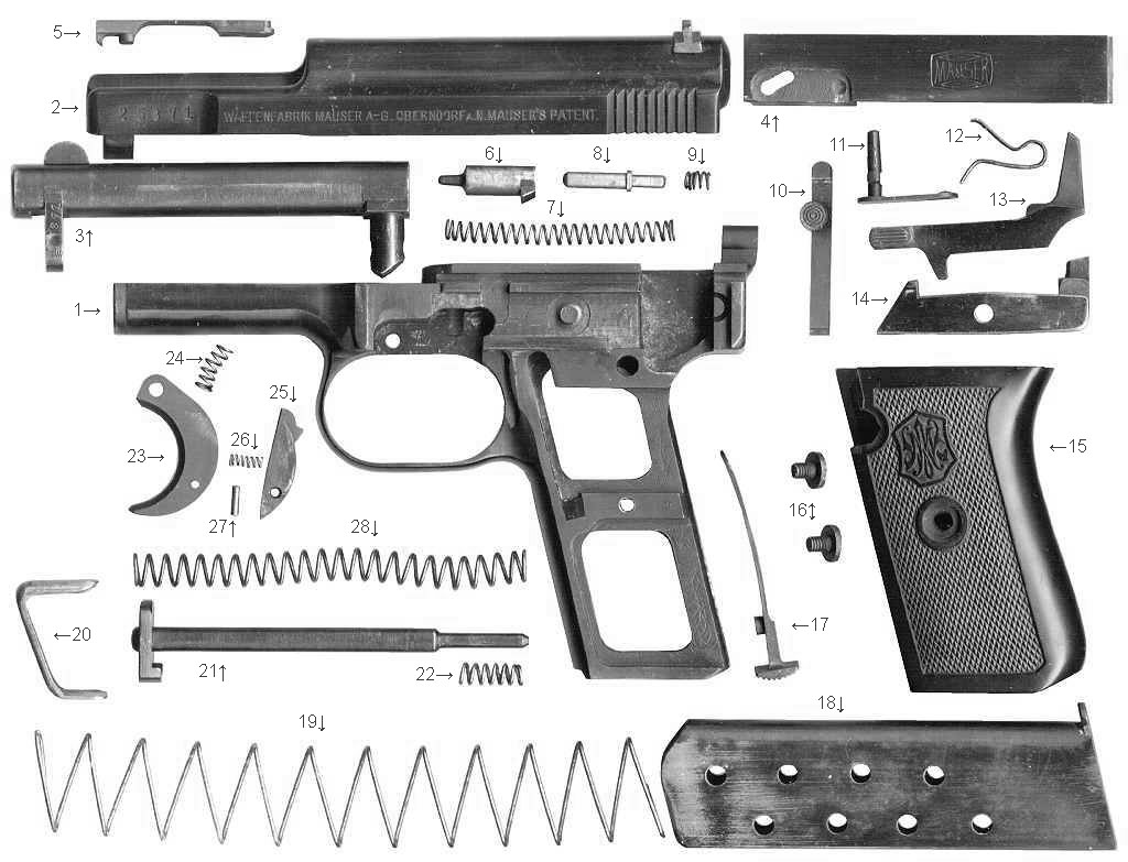1910 Mauser 6.35mm Pocket Pistol Parts List