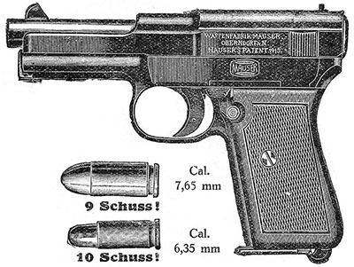 GERMAN ARMY MAUSER 1910  REPRODUCTION GRIPS CURVED BACK 6.35mm